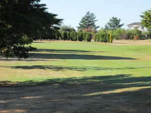 A flat approach with a bunker on the left